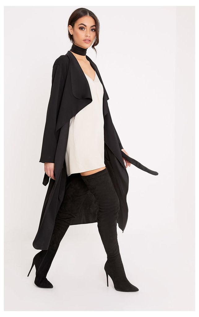 Livia Black Lightweight Belted Waterfall Jacket, Black