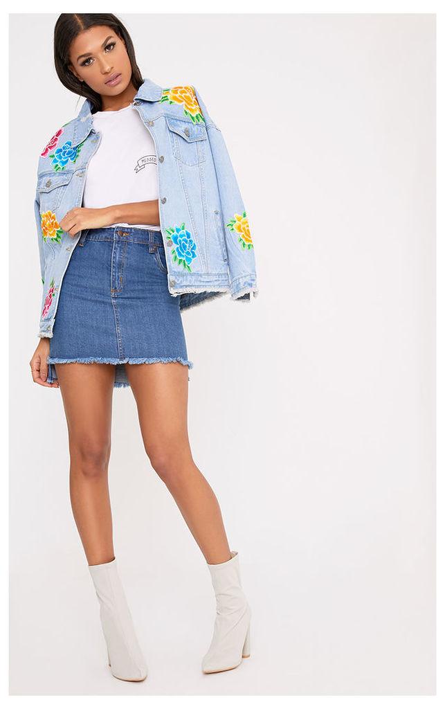 Coby Light Wash Flower Applique Oversized Denim Jacket, Mid Blue Wash