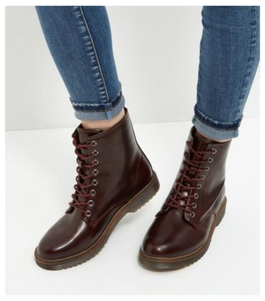 Burgundy Lace Up Ankle Boots
