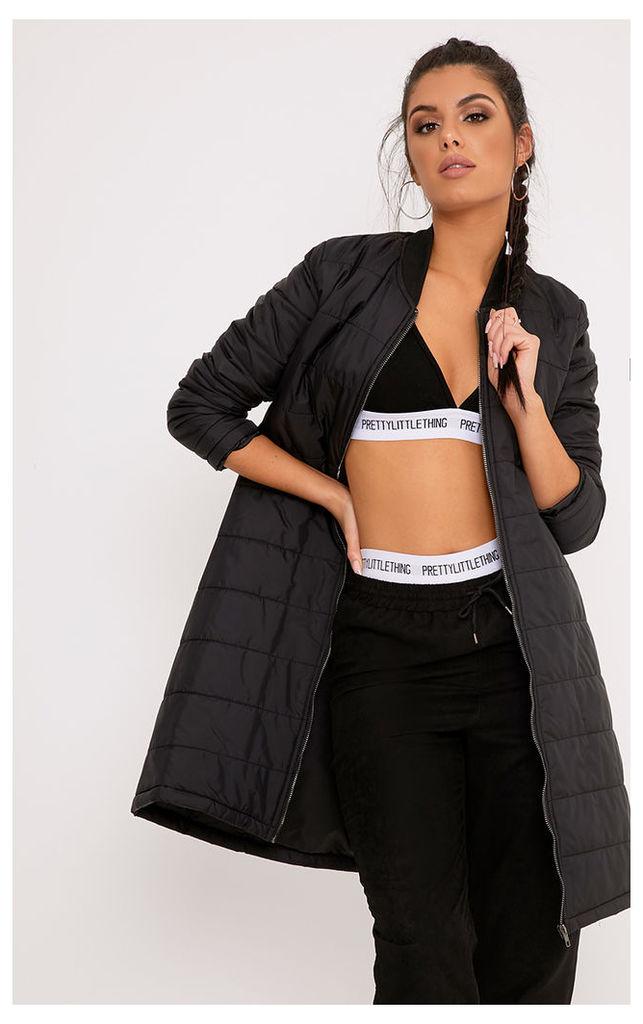 Jojena Black Longline Padded Coat, Black