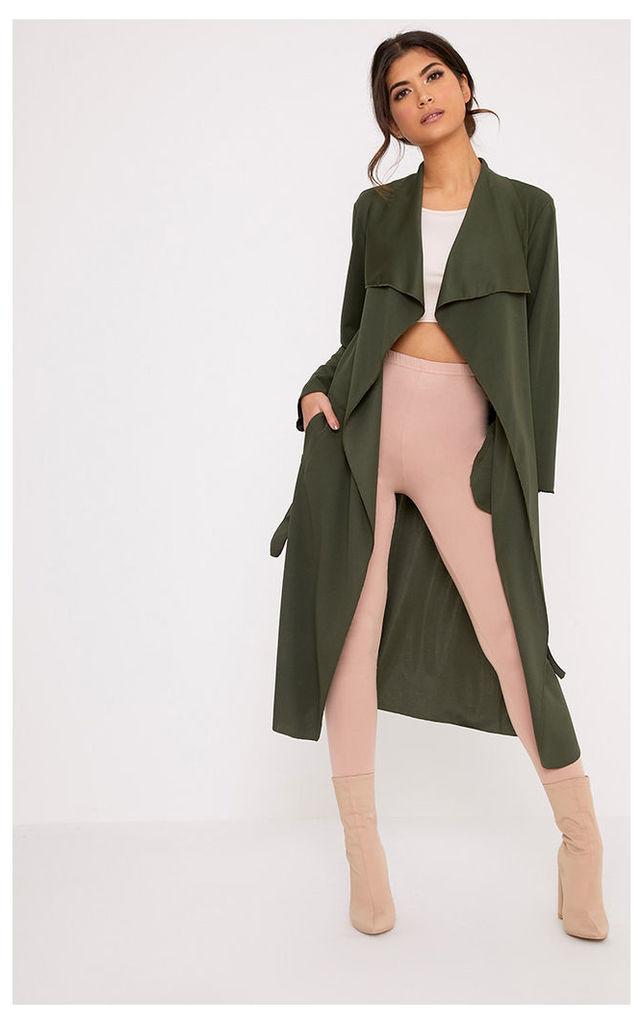 Livia Khaki Lightweight Belted Waterfall Jacket, Green