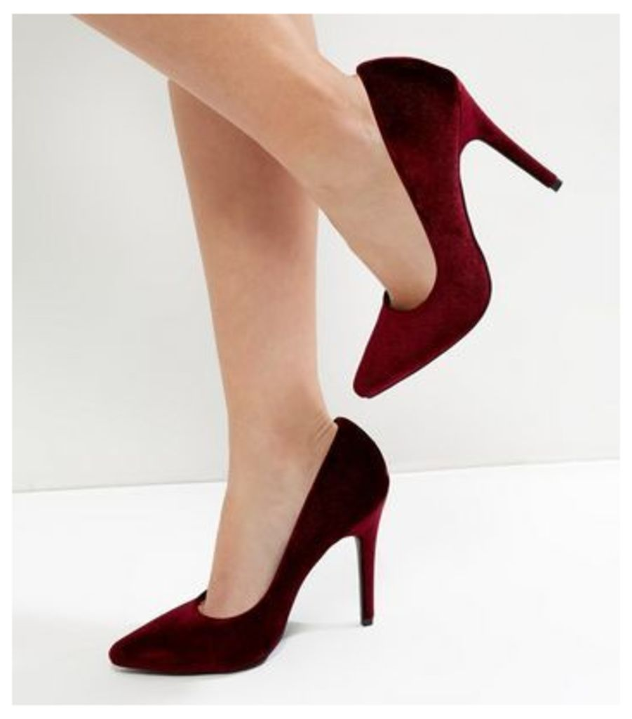 Dark Red Velvet Pointed Court Shoes