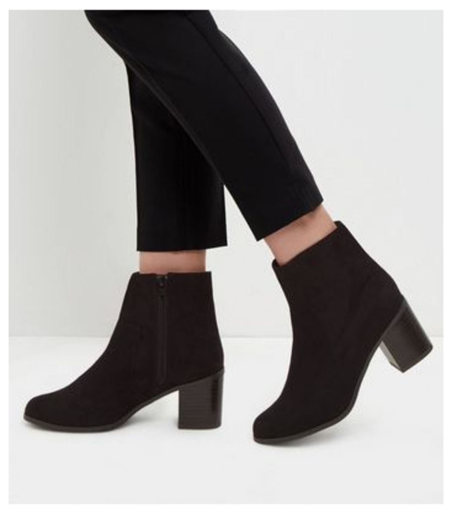 Wide Fit Black Comfort Suedette Block Heels