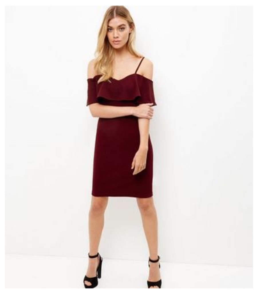 Parisian Burgundy Frill Trim Cold Shoulder Dress
