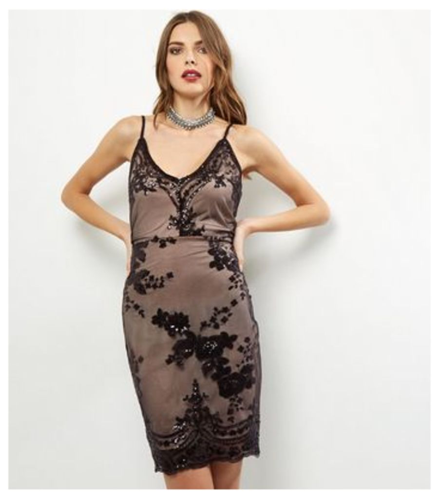 Parisian Black Sequin Cami Bodycon Dress