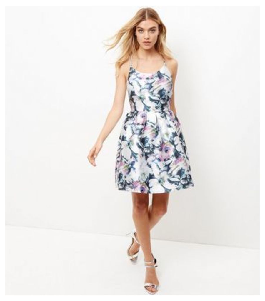 Blue Vanilla White Floral Print Pleated Dress