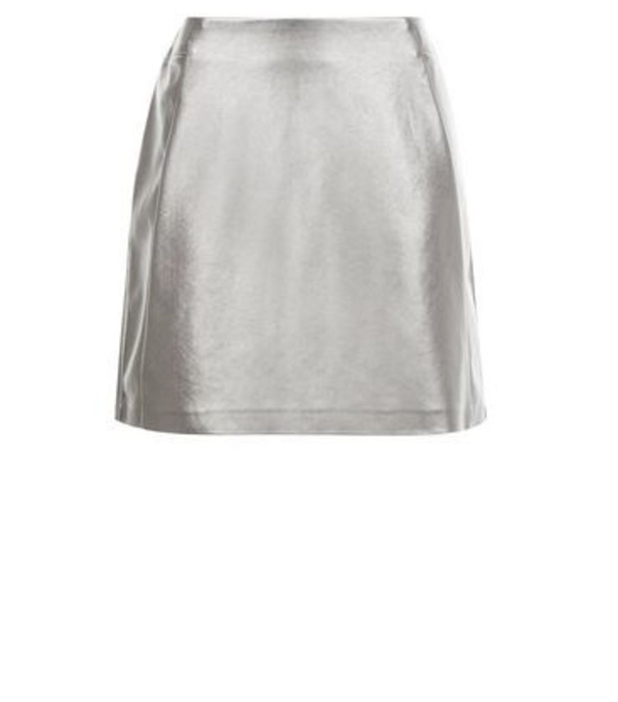 Petite Silver Leather-Look Skirt