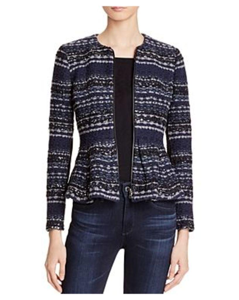 Rebecca Taylor Metallic Weave Tweed Peplum Jacket