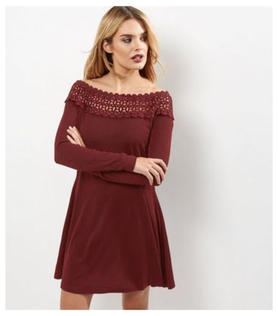 AX Paris Crochet Lace Panel V Neck Skater Dress
