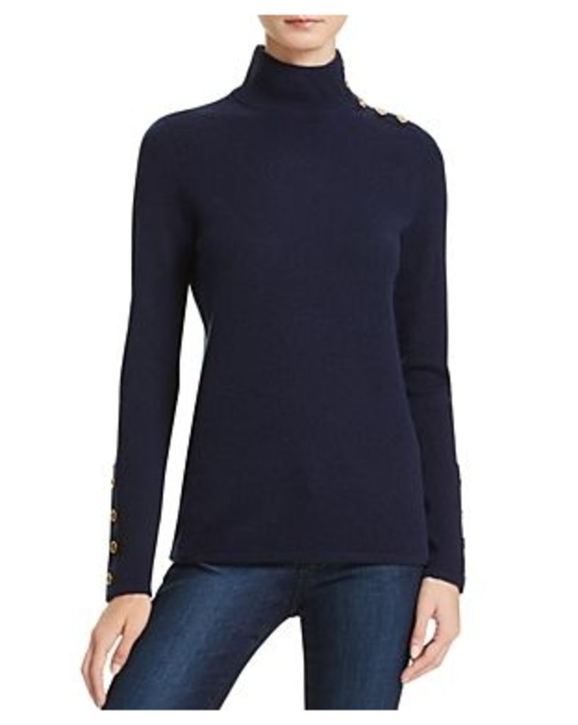 C by Bloomingdale's Button Mock Neck Cashmere Sweater
