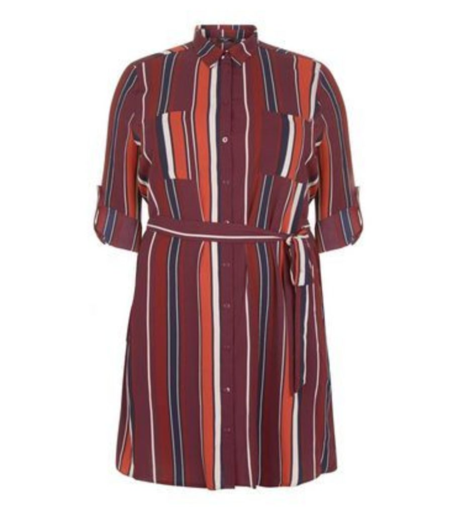 Curves Burgundy Stripe Longline Shirt