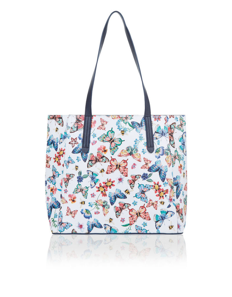 Butterfly Print Reversible Tote Bag