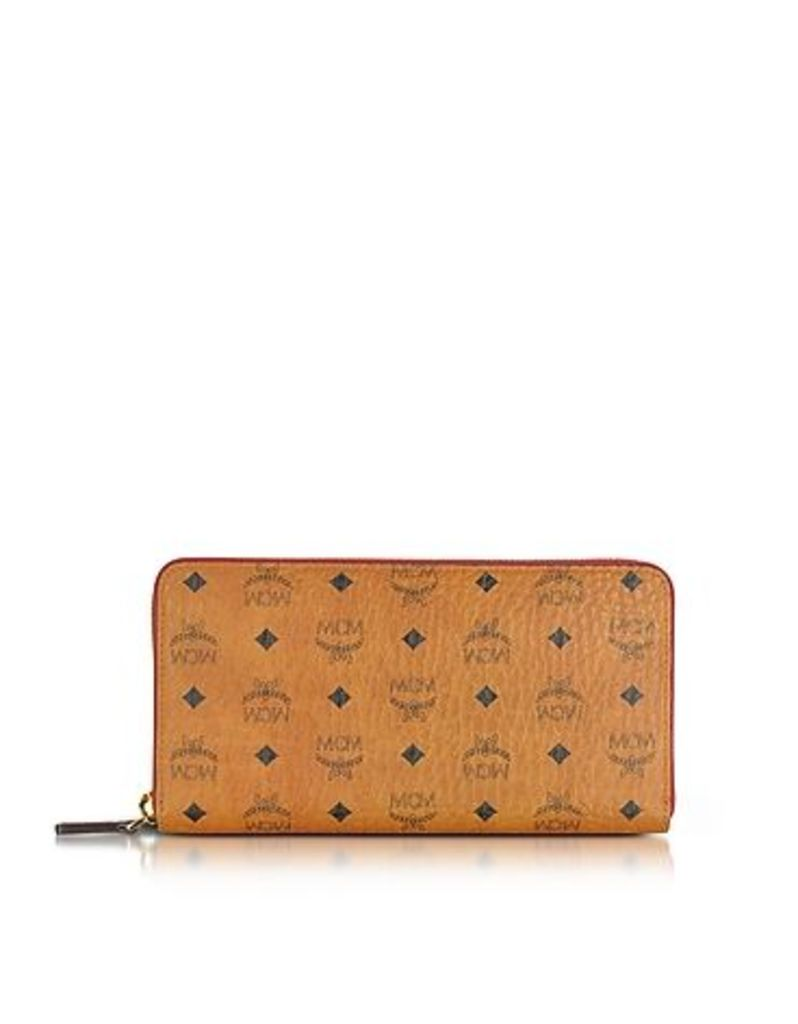 MCM - Color Visetos Cognac Coated Canvas Zip Around Wallet