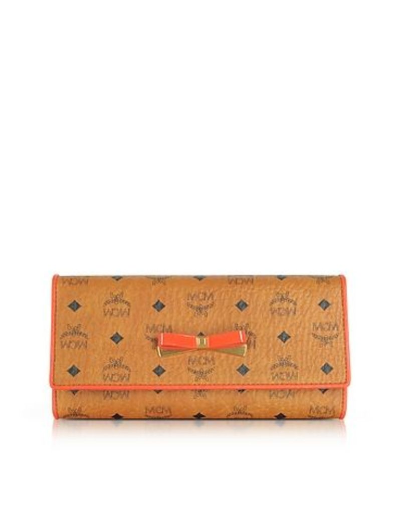 MCM - Mina Visetos Cognac 3 Fold Large Wallet w/Zip Pocket