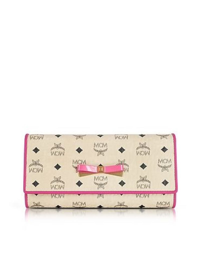 MCM - Mina Visetos Beige 3 Fold Large Wallet w/Zip Pocket