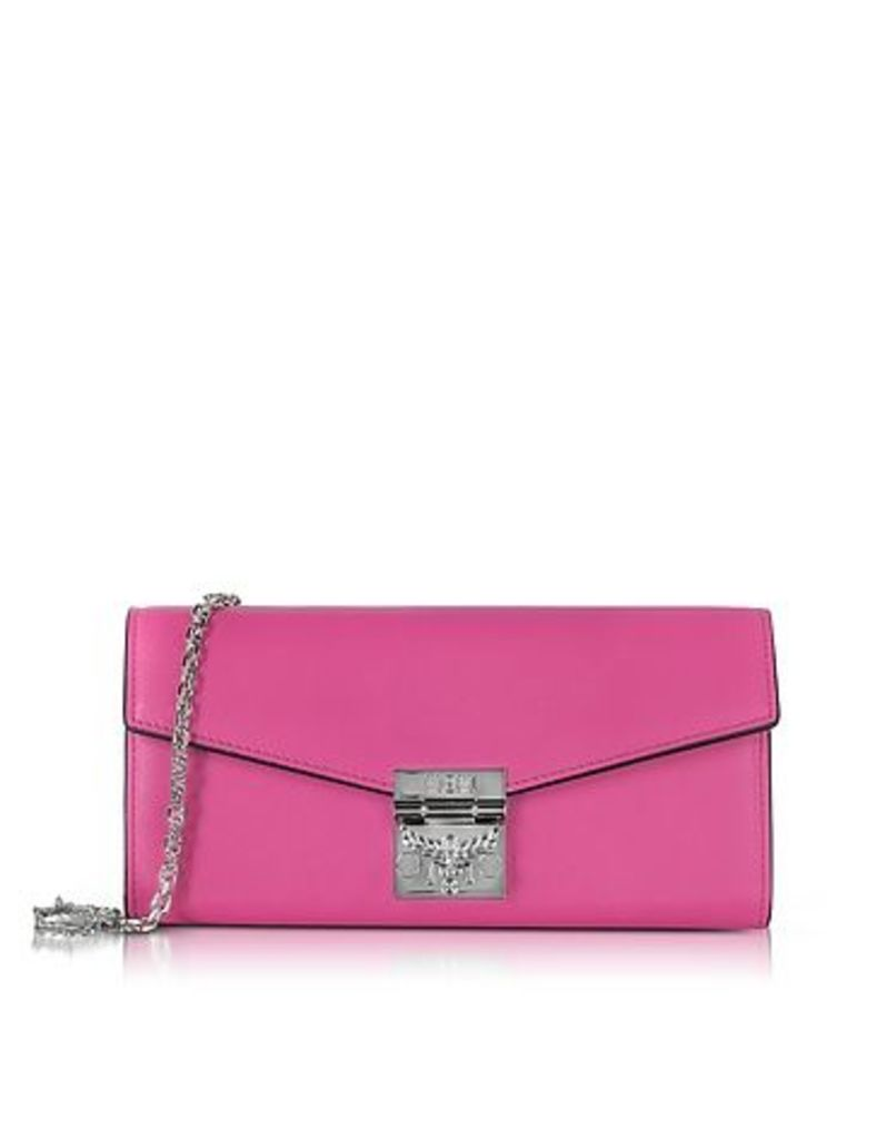 MCM - Patricia Electric Pink Leather 2 Fold Large Wallet w/Chain