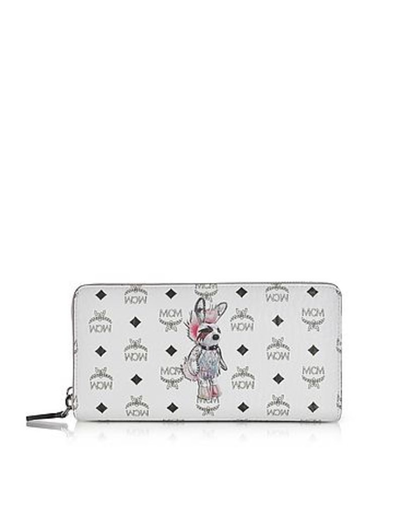 MCM - Rabbit White Coated Canvas Zip Around Large Wallet