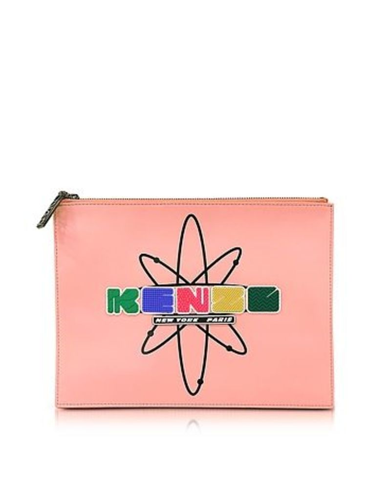 Kenzo - Pink Leather Nasa Clutch w/Embossed Rubberized Logo