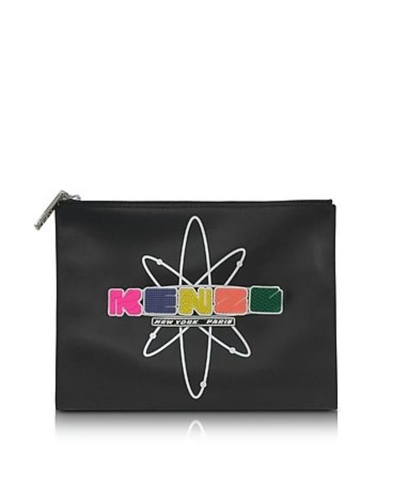 Kenzo - Black Leather Nasa Clutch w/Embossed Rubberized Logo