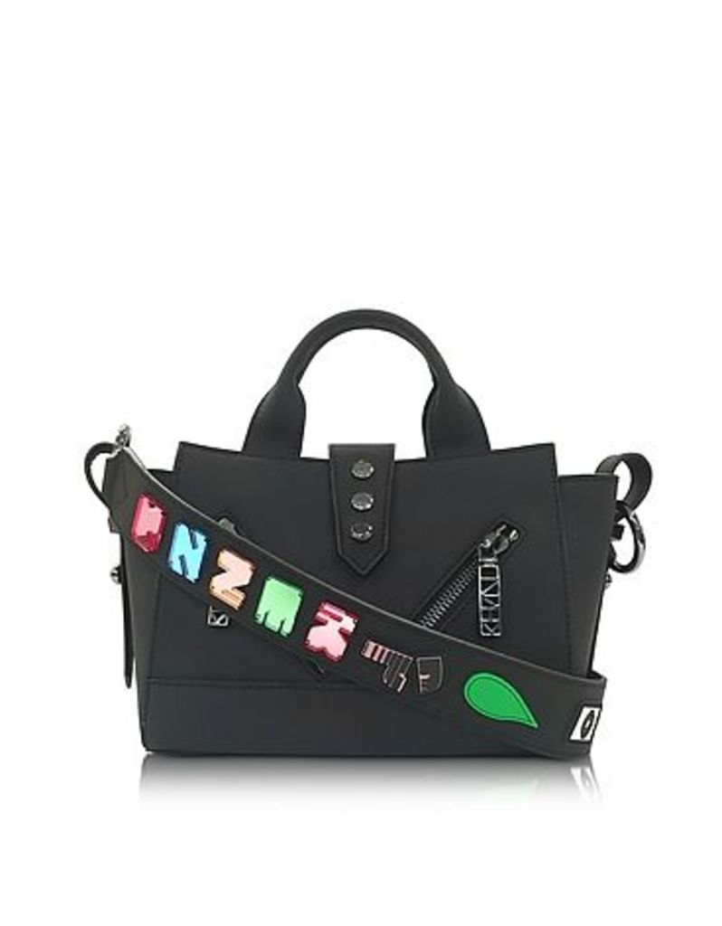 Kenzo - Black Soft Rubberized Gommato Leather Mini Kalifornia Satchel x Badges