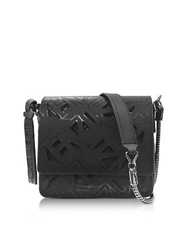 Kenzo - Black Laser Cut Flying Logo Shoulder Bag
