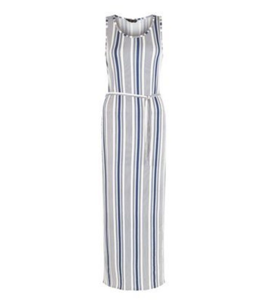 Blue Stripe Belted Maxi Dress