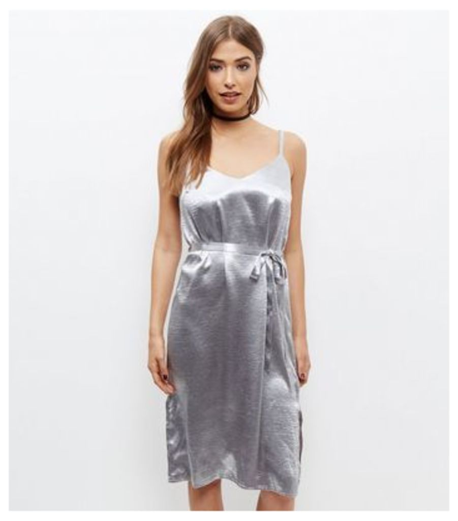 Silver Metallic Sateen Belted Slip Dress