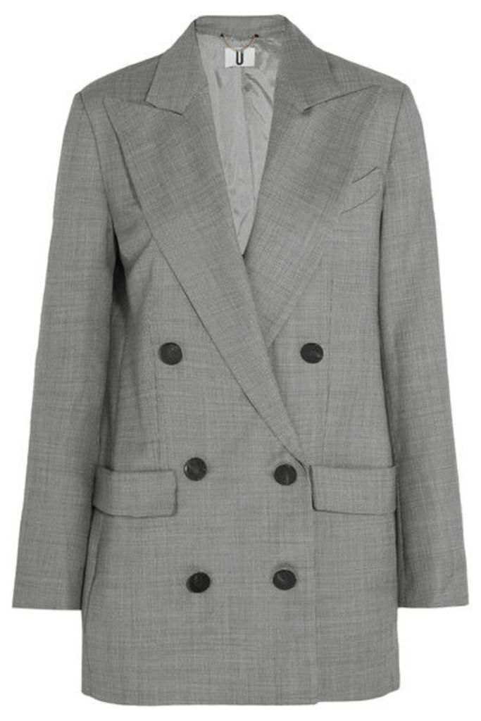 Topshop Unique - Wycliffe Double-breasted Wool-twill Blazer - Gray
