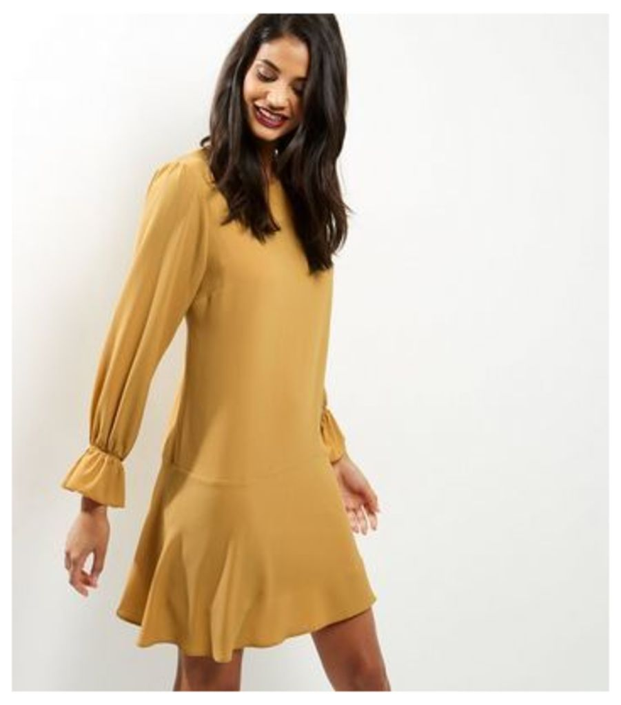 Yellow Bell Sleeve Peplum Hem Dress