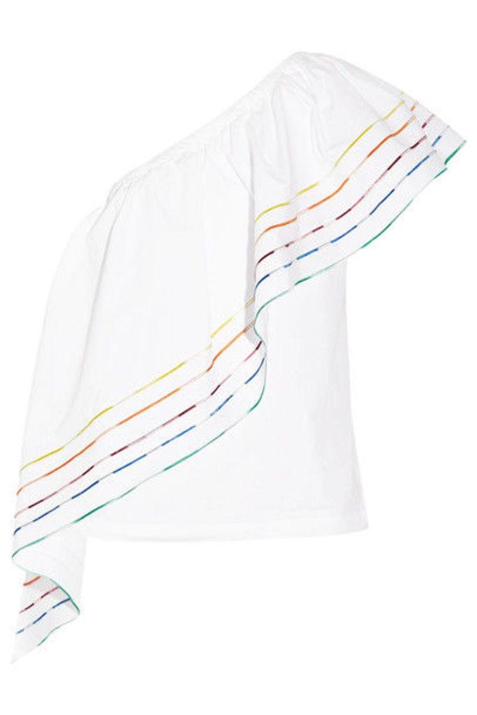 Rosie Assoulin - Wedge One-shoulder Ruffled Cotton-poplin Top - White