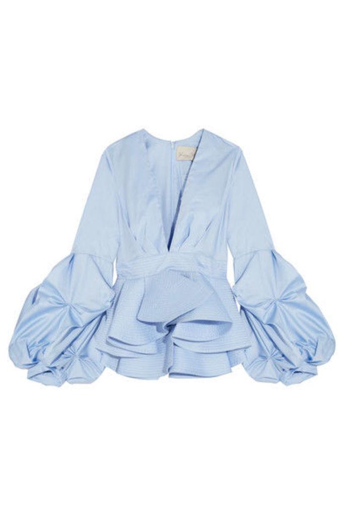 Johanna Ortiz - St. Barts Cotton-poplin Peplum Top - Light blue