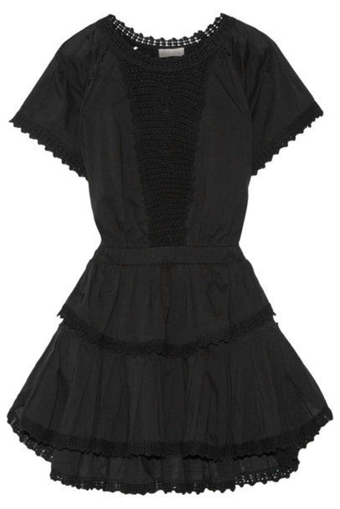LoveShackFancy - Carla Crochet-trimmed Cotton-voile Mini Dress - Black