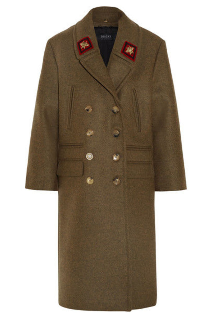Gucci - Double-breasted Appliquéd Wool Coat - Army green