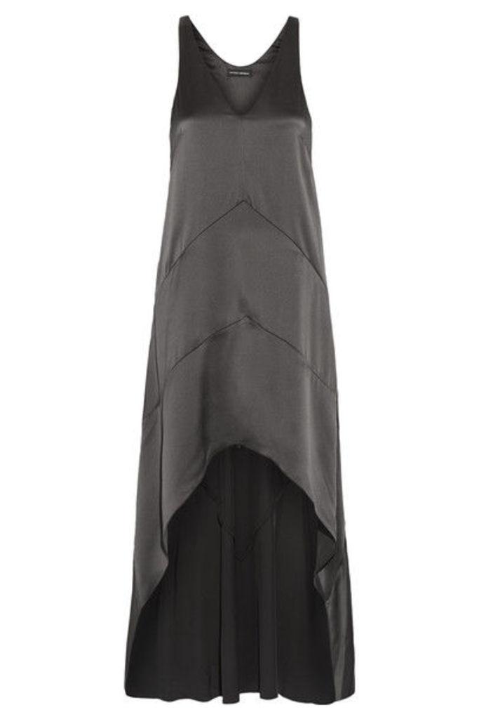 Narciso Rodriguez - Asymmetric Silk-satin Dress - Gunmetal