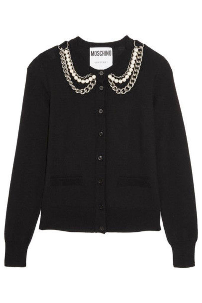 Moschino - Embellished Wool Cardigan - Black