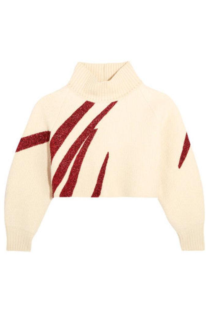 Vika Gazinskaya - Oversized Cropped Boiled Wool Sweater - Cream