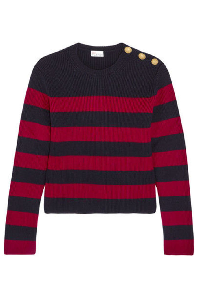 REDValentino - Striped Ribbed Wool Sweater - Claret