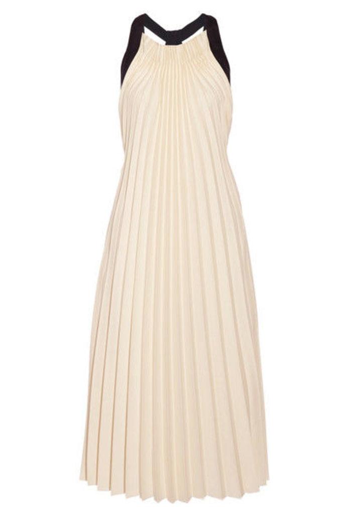 3.1 Phillip Lim - Silk Satin-trimmed Pleated Twill Midi Dress - Cream