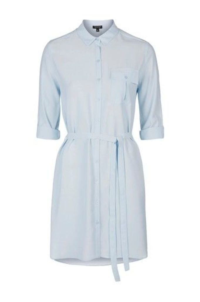 Womens Belted Shirtdress - Ice Blue, Ice Blue