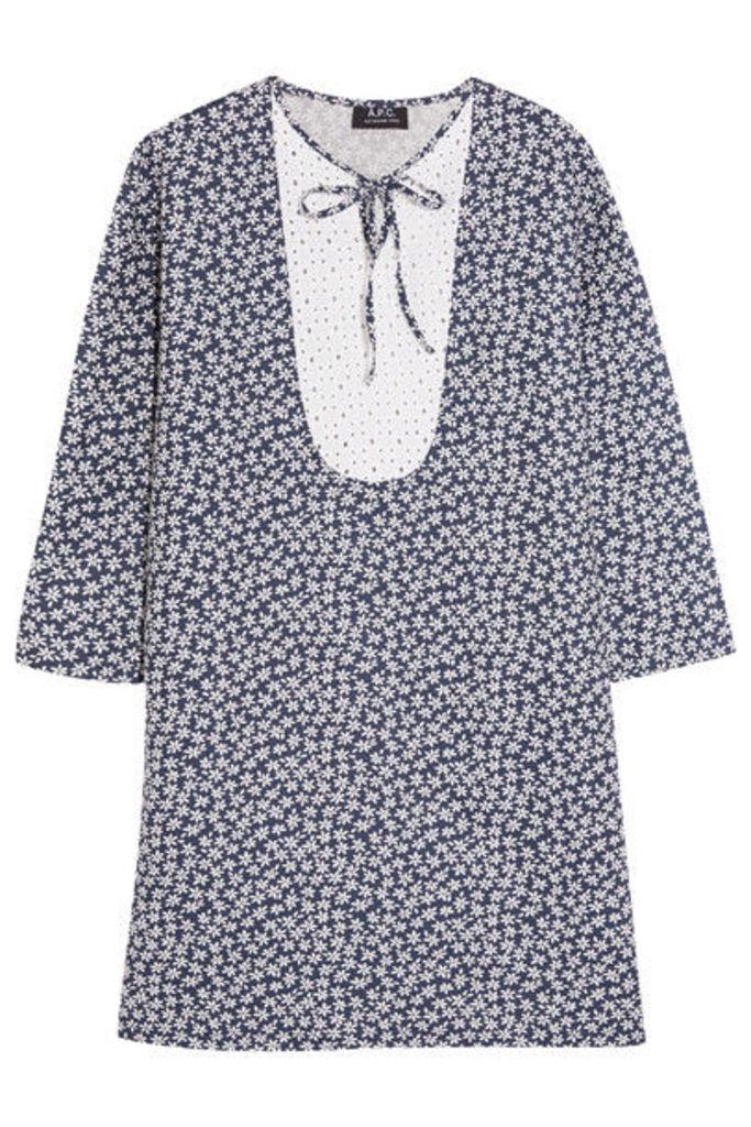 A.P.C. Atelier de Production et de Création - Doria Broderie Anglaise-paneled Printed Linen And Cotton-blend Dress - Midnight blue