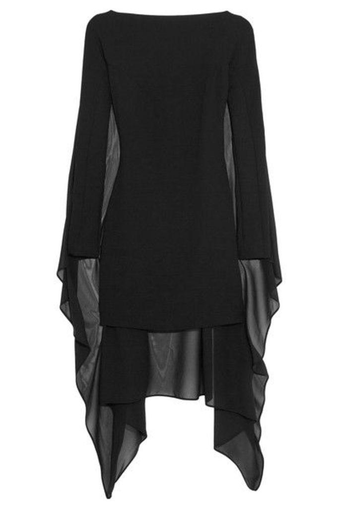 Gareth Pugh - Cape-back Crepe And Stretch-silk Chiffon Mini Dress - Black