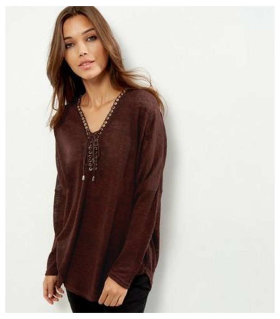 Apricot Burgundy Lace Up Long Sleeve Top
