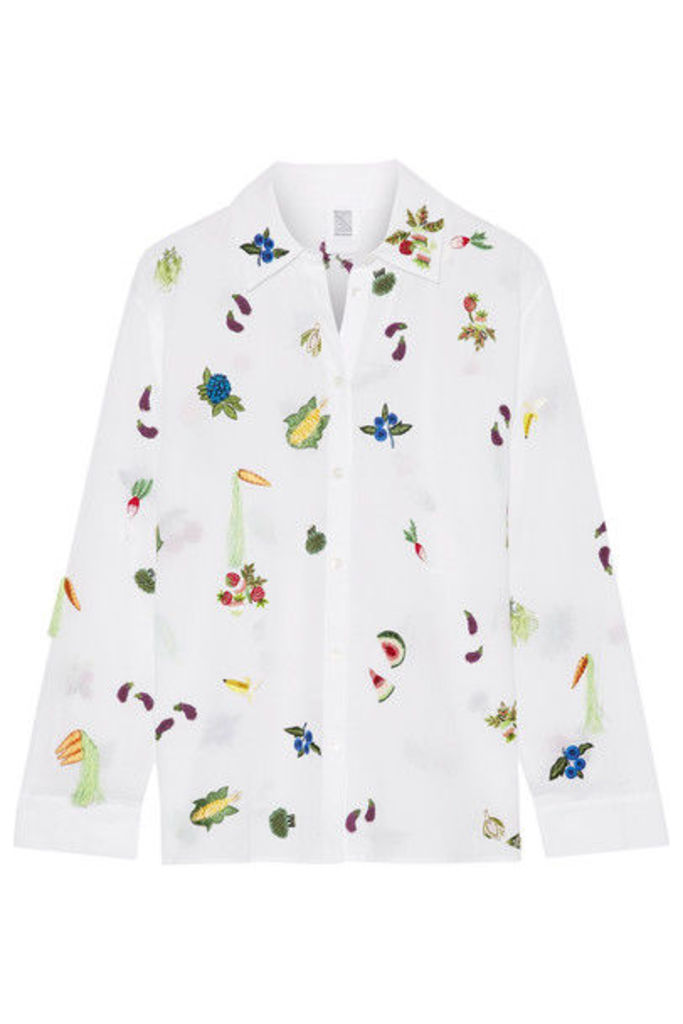 Rosie Assoulin - Salad Bar Embroidered Cotton-voile Shirt - White