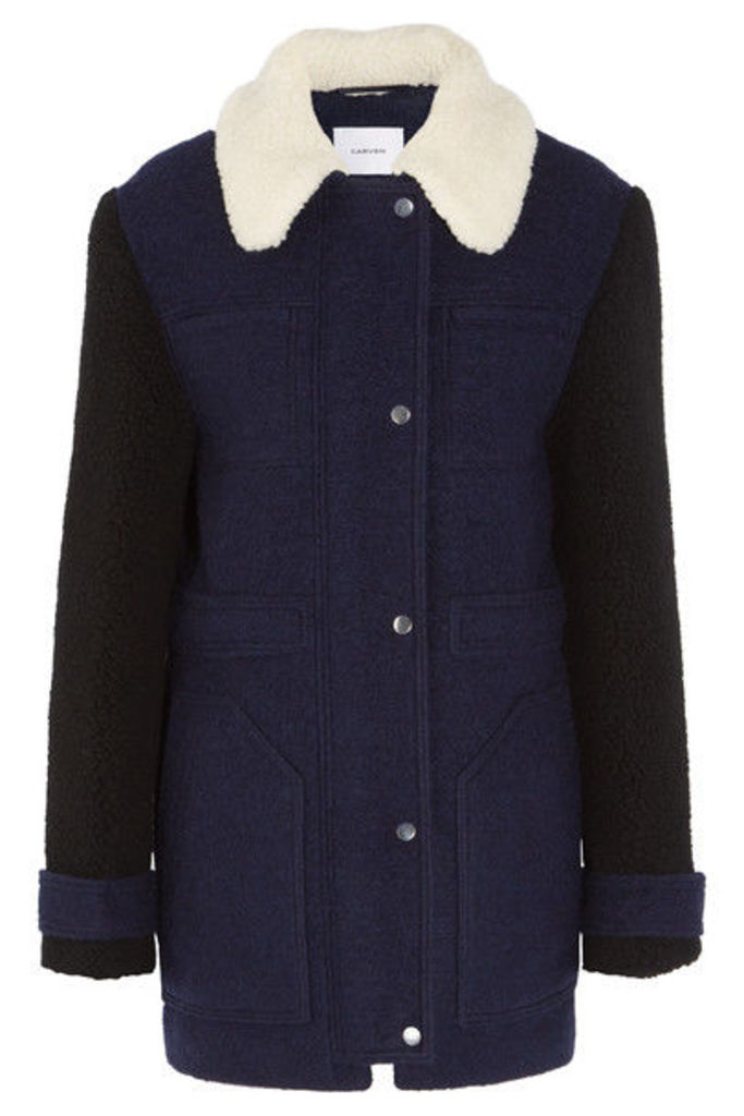 Carven - Faux Shearling-trimmed Wool-blend Felt Coat - Navy