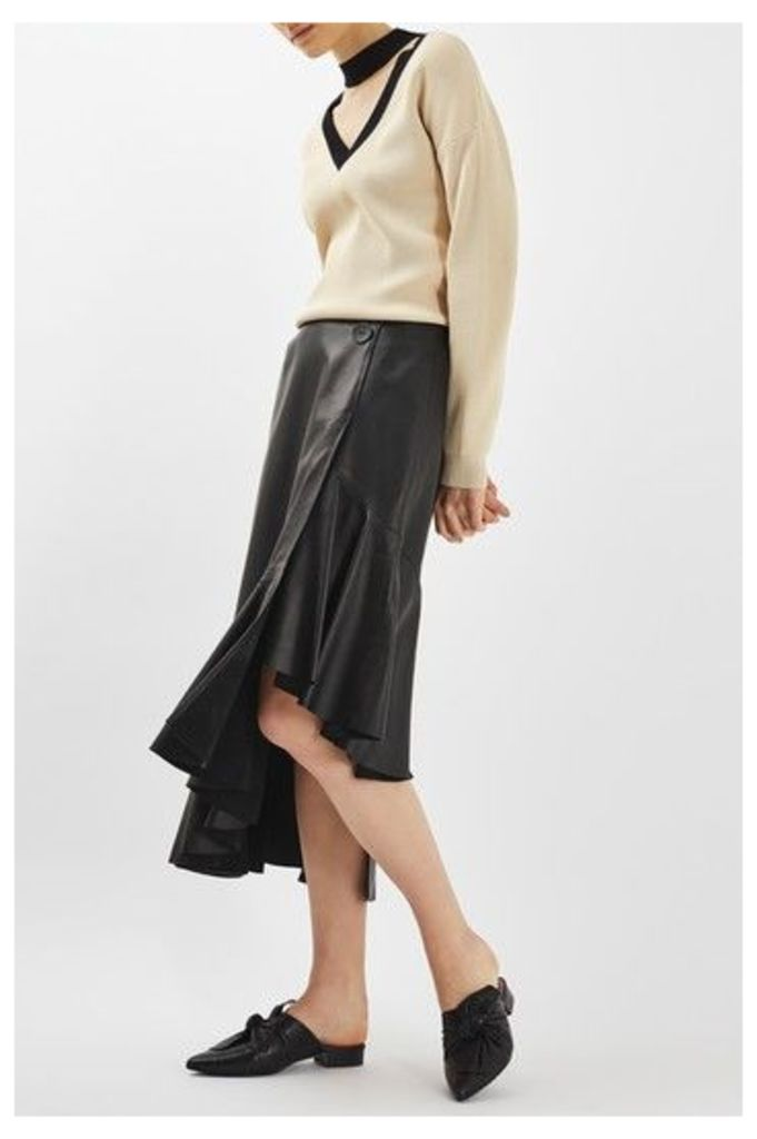 Womens Leather Ruffle Skirt by Boutique - Black, Black