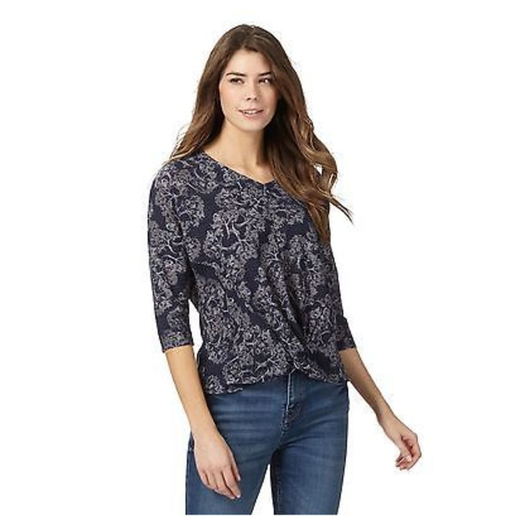Rjr.John Rocha Womens Navy Tree Print Knot Detail Top From Debenhams