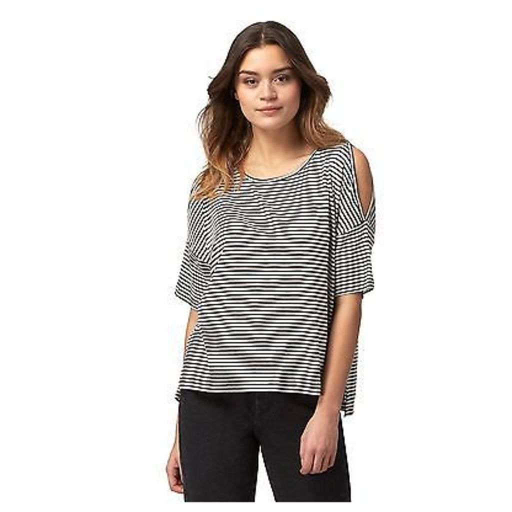 Red Herring Womens Black Striped Cold Shoulder Top From Debenhams