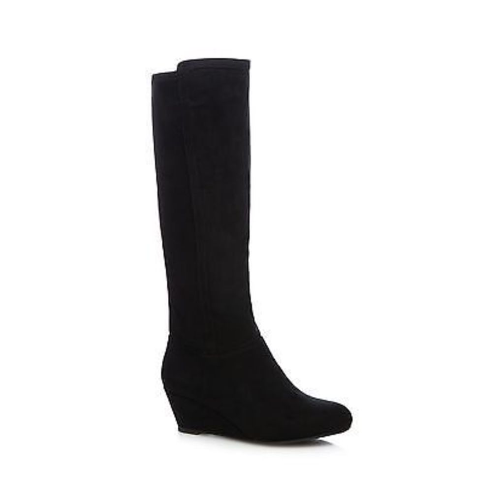 The Collection Womens Black Knee High Wedge Boots From Debenhams