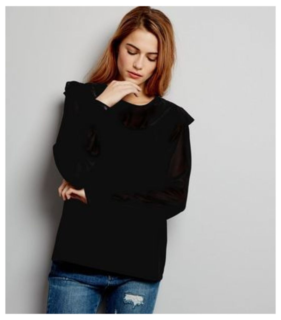 Teens Black Frill Trim Yoke Top