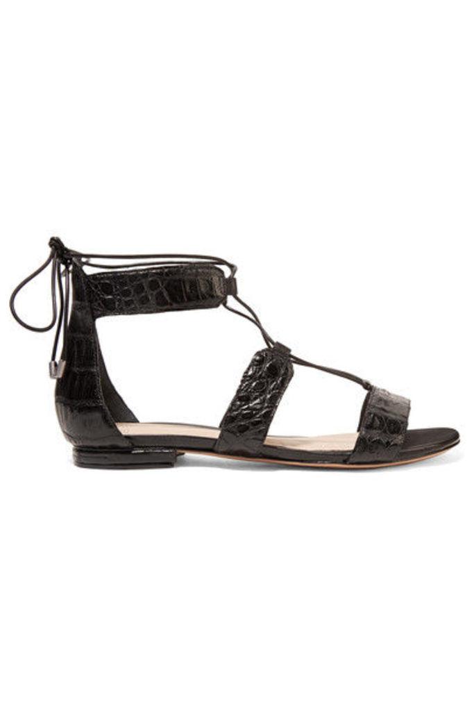 Alexandre Birman - Brenda Lace-up Crocodile Sandals - Black